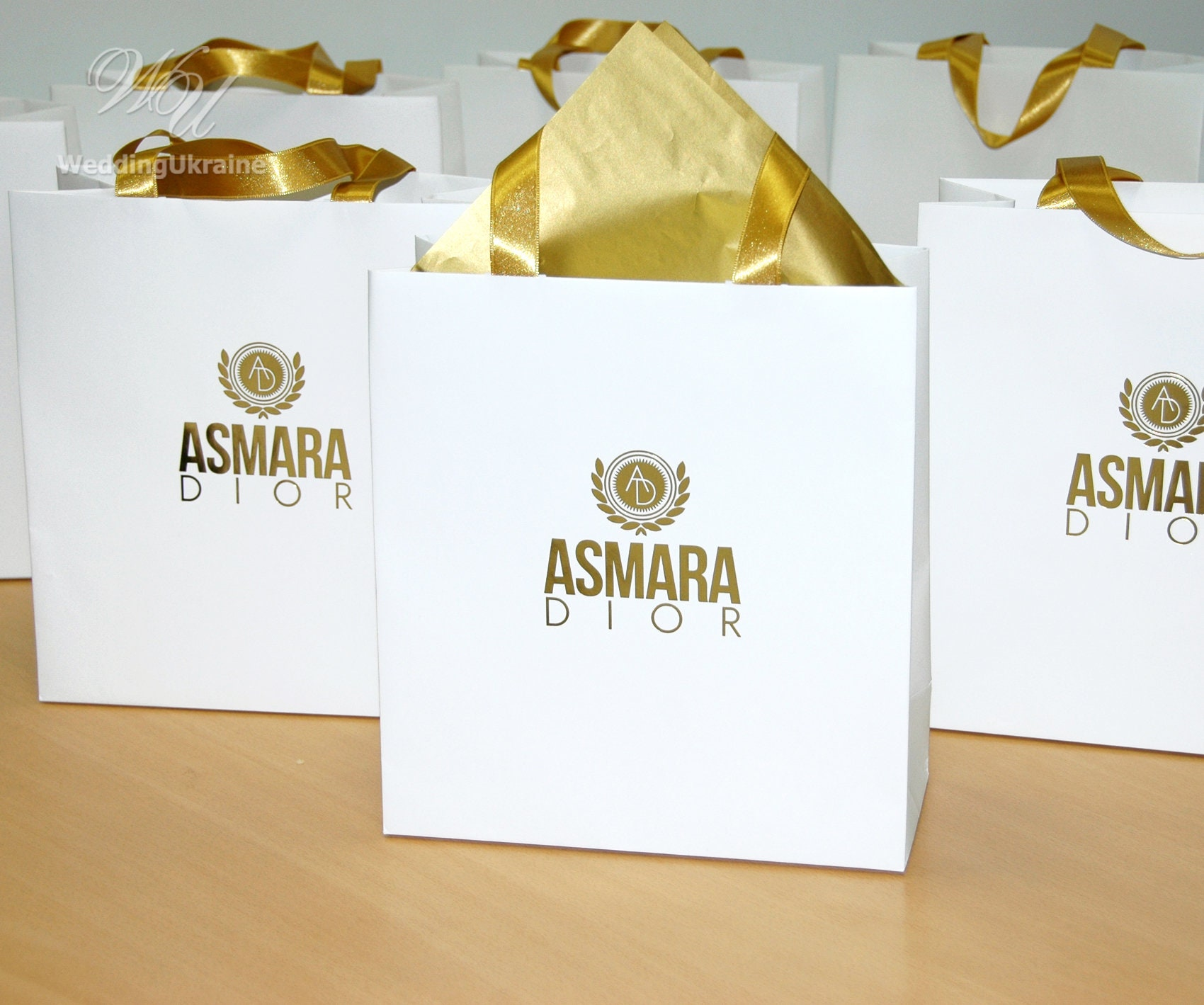 50 Gold foil Logo gift Bags with satin ribbon handles Elegant