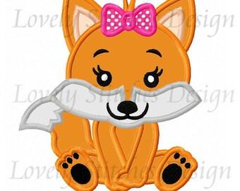 Baby Fox  For Girls Applique Machine Embroidery Design NO:0660
