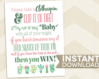 Clothespin BABY SHOWER game / Cactus Baby Shower game / succulents / desert / pink / green