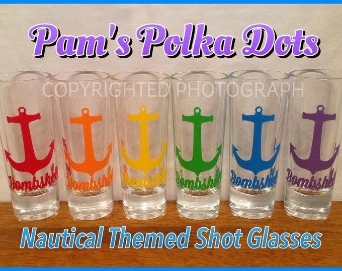 Personalized NAUTICAL ANCHOR Shot Glass with Initial NAME Word great birthday beach wedding graduation anytime gift