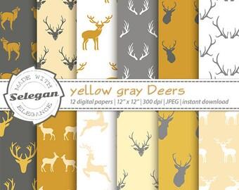 """Deer scrapbook paper """" Yellow Gray Deers """" digital printable deer antlers christmas pattern 12x12 download"""