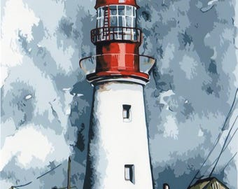 Lighthouse PAINT BY NUMBERS Canvas Painting Kit 20 x 16 ins, Acrylic, Frameless, Seaside Landscape
