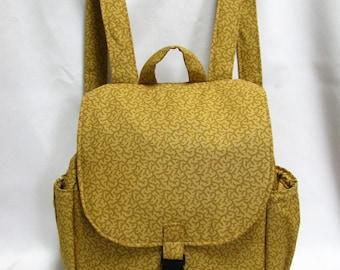 Small backpack- Honey tone vine print cotton