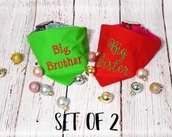 Christmas Pregnancy Announcement -Christmas Baby Announcement - Custom Dog Bandana - Baby Reveal - Future Big Brother - Future Big Sister