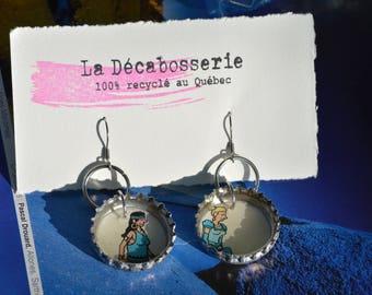 Pendant earrings - recycled beer caps