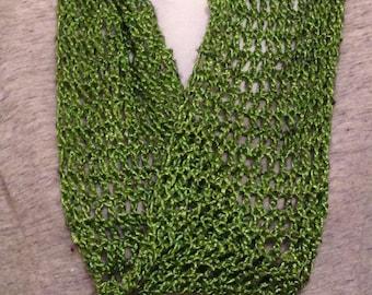 Leaf Green Silk/Wool Infinity Scarf