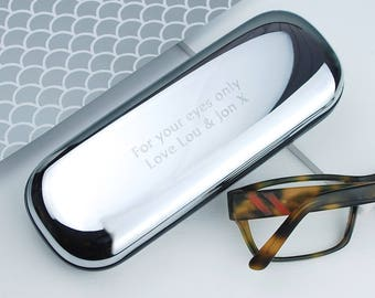 Personalised Chrome Glasses Case, Engraved Glasses Case, Gift for Him, Retirement Gift, Fathers Day Gift, Mother's Day Personalized,Mom Gift