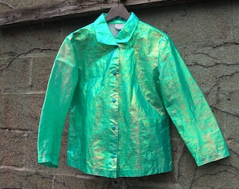 Holographic 1990s / 90s Unisex Designer Green Space Tech Rave Sea Punk Chic Shiny Button Down Nylon Jacket *Super Rare*