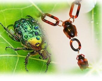 beetle necklace, necklace tortoiseshell, Egyptian scarab - BEETLE family