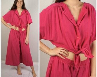 Pink Gauze jumpsuit 80s Vintage Midriff Baring Short Sleeve summer onesie coveralls loose oversize Large