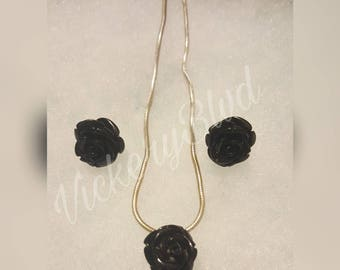 Black Rose Resin Earrings and Necklace