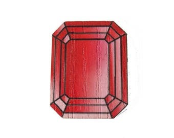 """Gemstone """"Ruby"""" wood - print 20x277mm - not drilled RECTANGLE"""