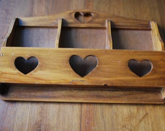 Vintage Wooden Wall Mount Letter/ Mail Holder  - Retro  - Rustic - Modern Country
