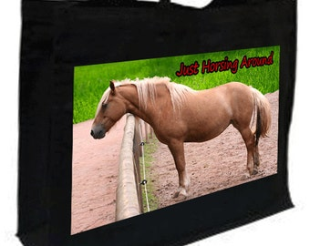 Palamino Horse Just Horsing Around Cotton Shopping Bag with gusset and long handles, 3 colour options