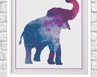 Galaxy Elephant Cross Stitch Pattern
