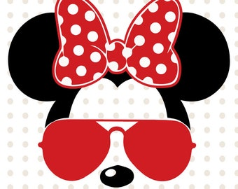 Minnie Mouse svg sunglasses, Layered Disney Minnie Mouse sunglasses cricut silhouette svg file instant download minnie mouse head svg file