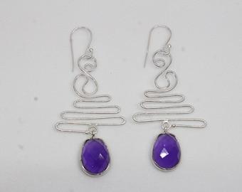 Amethyst Earrings, 925 Silver Earrings, Sterling Silver, Rosecut Purple Stone Earrings, Designer Earrings, Silver Wire Earrings