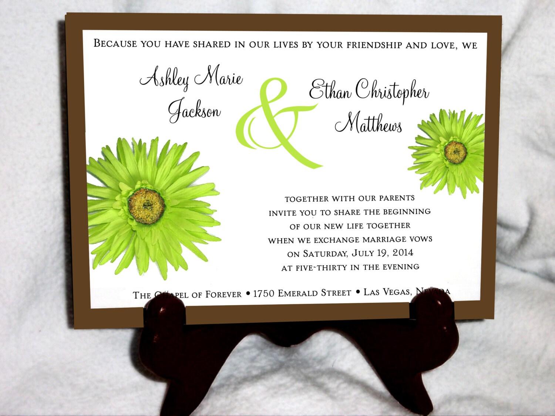 100 Lime Green Daisy Wedding Invitations, RSVP\'s, Reception Insert w ...