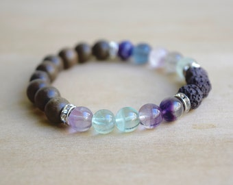 Rainbow Fluorite Bracelets / yoga gift for mom, pastel jewelry gift, meditation bracelets, diffuser bracelets, lava jewelry gift, group 9