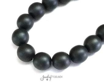 Black Czech Glass Beads, 10mm Round Black Beads, Matte Black Beads, 1 Strand of 16 Beads, #BLK 10