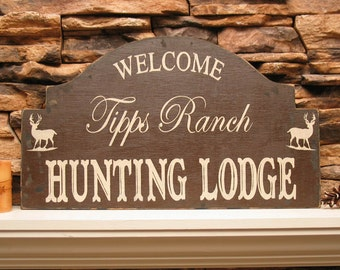 Hunting LODGE sign,  RANCH Lake House shabby sign welcome, cabin decor, custom cottage sign, rustic ranch sign
