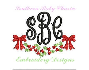 Christmas Holly Mistletoe Bow Swag Monogram Frame Fill Embroidery Design Designs File Embroidery Machine Instant Download