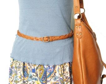 Handmade cognac leather braided belt for woman