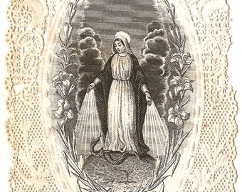 Miraculous Virgin Mary Engraving Antique French Paper Lace Holy Prayer Card, Catholic, Our Lady of Grace, Blessed Mother