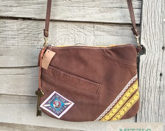SHIPS TODAY Bomber Brown Leather & Lace Festival Bag w/ Crossbody Strap