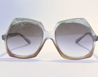 Vintage unique sunglasses small face retro 70s clear brown