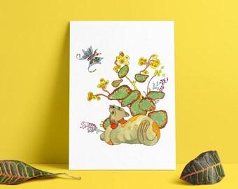 Green Tea Kitty- limited edition print from original // Home Decor // 13x19, 11 x 14, 8 x 10, 5 x 7