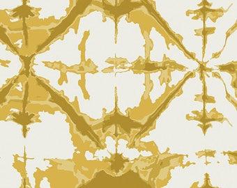 Art Gallery Fabrics - Observer- Indigo Window Sulphur- April Rhodes