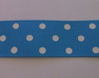 Ribbon grosgrain Ribbon 22mm wide blue with white dots