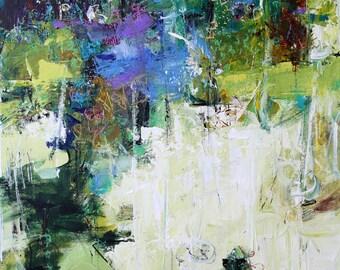 "ABSTRACT PAINTING ""Secret Place"" 30 x 40 inch canvas ORIGINAL Art by Elizabeth Chapman"