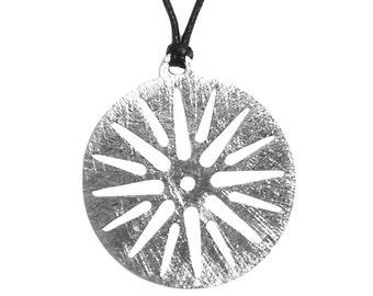 Sun of Vergina Greek Pendant, Unisex Pendant, Solid Sterling Silver Handmade Pendant, Greek Talisman Round Necklace,
