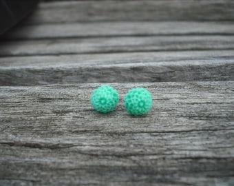 mint green mum post earring