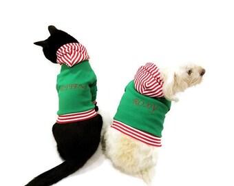 Personalized Christmas Dog Hoodie - Christmas Dog Sweater - dog clothes dog Shirt dog sweatshirt dog sweater