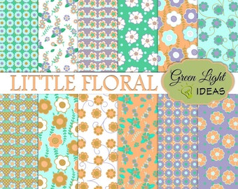 Floral Digital Papers, Daisy Digital Papers, Floral Backgrounds, Floral Scrapbook Papers, Commercial Use Papers, Floral Digital Patterns