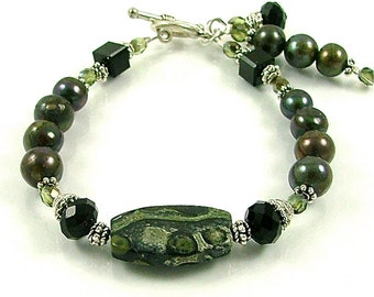 MAJOR MARKDOWN - Rainforest Green Kambaba Jasper, Pearl and Crystal Beaded Bracelet with Dangles