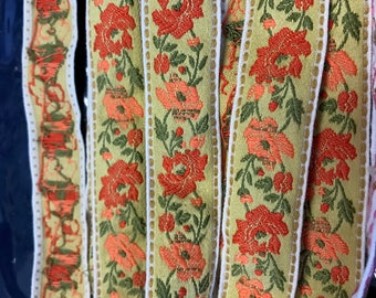 5 Yards of Vintage Red Woven Jacquard Embroidery florals. 1 Inch Wide.