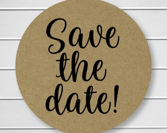 Save The Date Stickers, Kraft Save the Date, Kraft Wedding Envelope Seals, Kraft Wedding Stickers, Kraft (#426-KR)