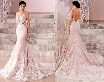 Unique wedding dress etsy blush boho vintage inspired fully lace mermaid wedding dressbohemian styleopen cutout back junglespirit Choice Image