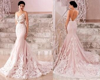 Blush wedding dress etsy popular items for blush wedding dress junglespirit Image collections