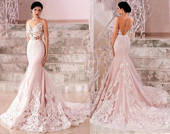 Blush Boho Vintage Inspired Fully Lace Mermaid Wedding