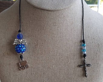 I love you Angel/Cross, blue and silver Crystal Thong style book mark.