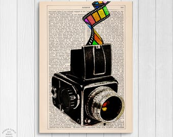 Hasselblad Vintage Camera Colorful Upcycled Book Page Print/ Rainbow Ode to Film Photography Custom Wall Art Unframed | Ambercurio