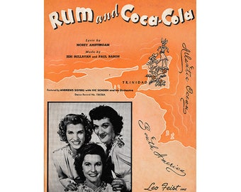 Vintage Sheet Music - Andrew Sisters - Rum and Coca-Cola, South America, Calypso, Vic Schoen & His Orchestra, Plagiarized Version