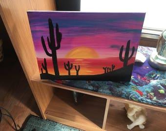 Desert cactus painting