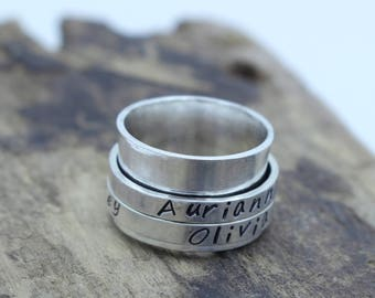 Personalized Sterling Silver Spinner Ring - Longitude and Latitude - Wide Band Ring - Gift for her