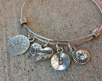 Bridesmaid Adjustable Bracelet, Silver Bangle, Expandable Bangle,Love Expandable Bracelet, Adjustable Bangle, Adjustable Bracelet